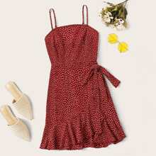 Plus Ruffle Hem Tie Side Allover Print Cami Dress