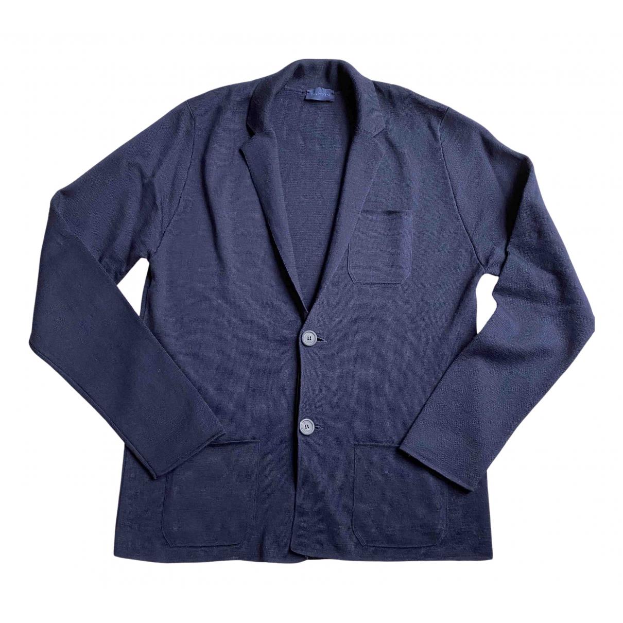 Lanvin \N Pullover.Westen.Sweatshirts  in  Marine Wolle