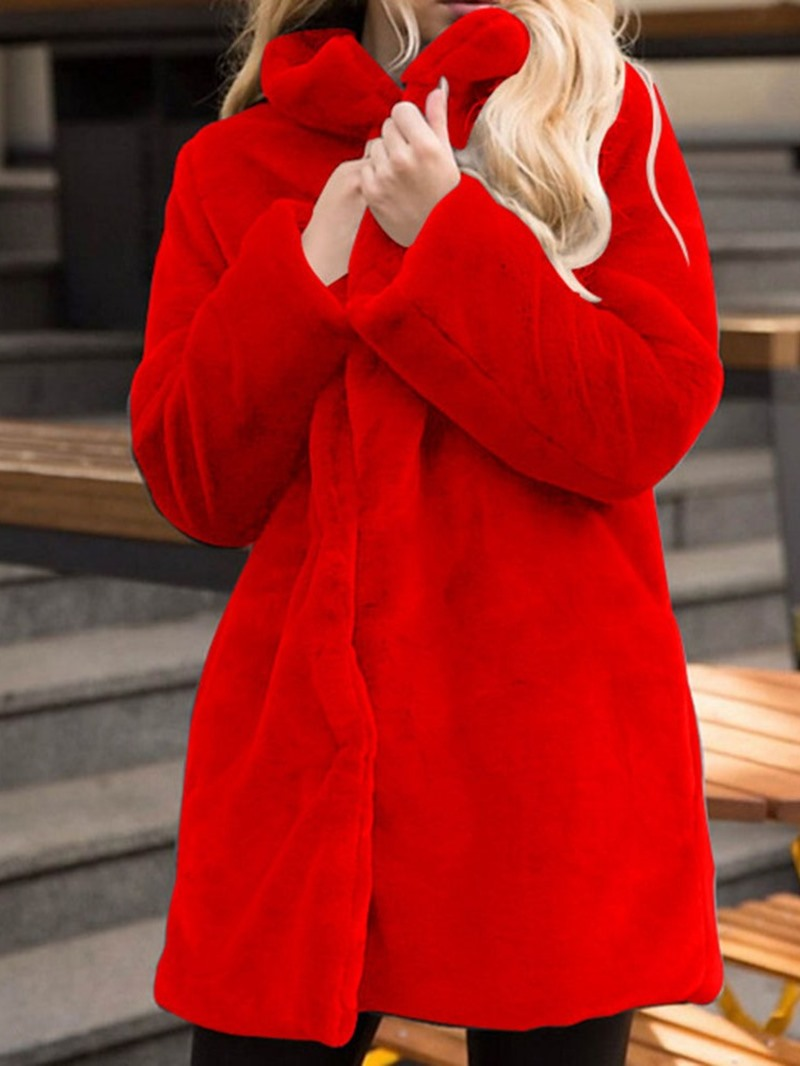 Ericdress Regular Lapel Mid-Length Winter Straight Faux Fur Overcoat