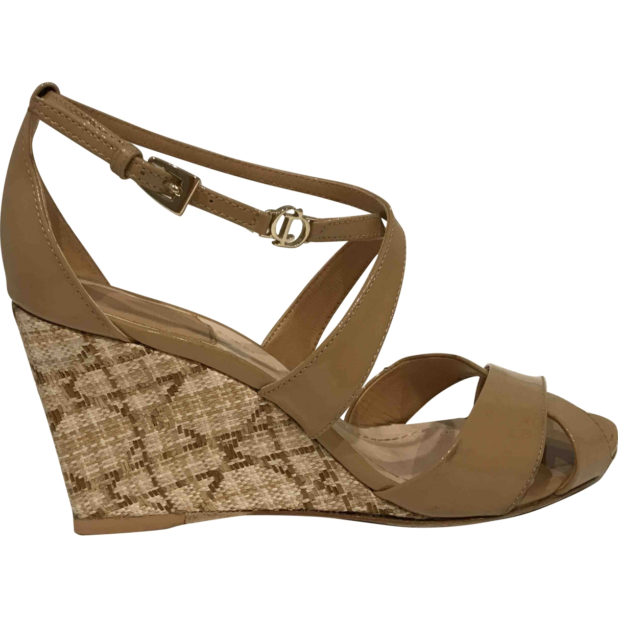 Dior \N Beige Patent leather Sandals for Women 36 EU