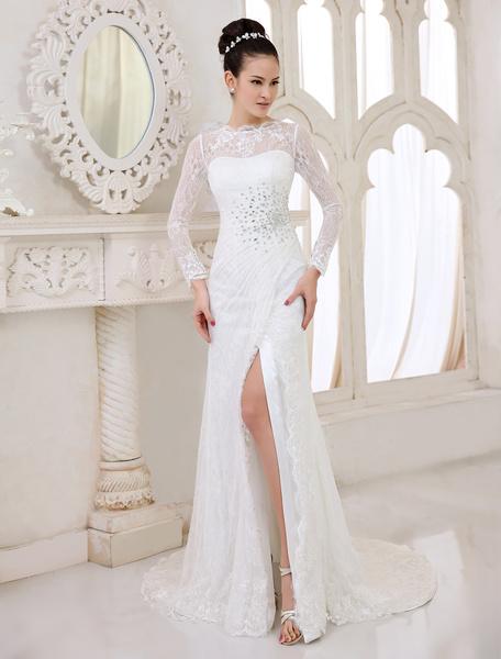 Milanoo Vestido de novia de encaje de color marfil con escote redondo