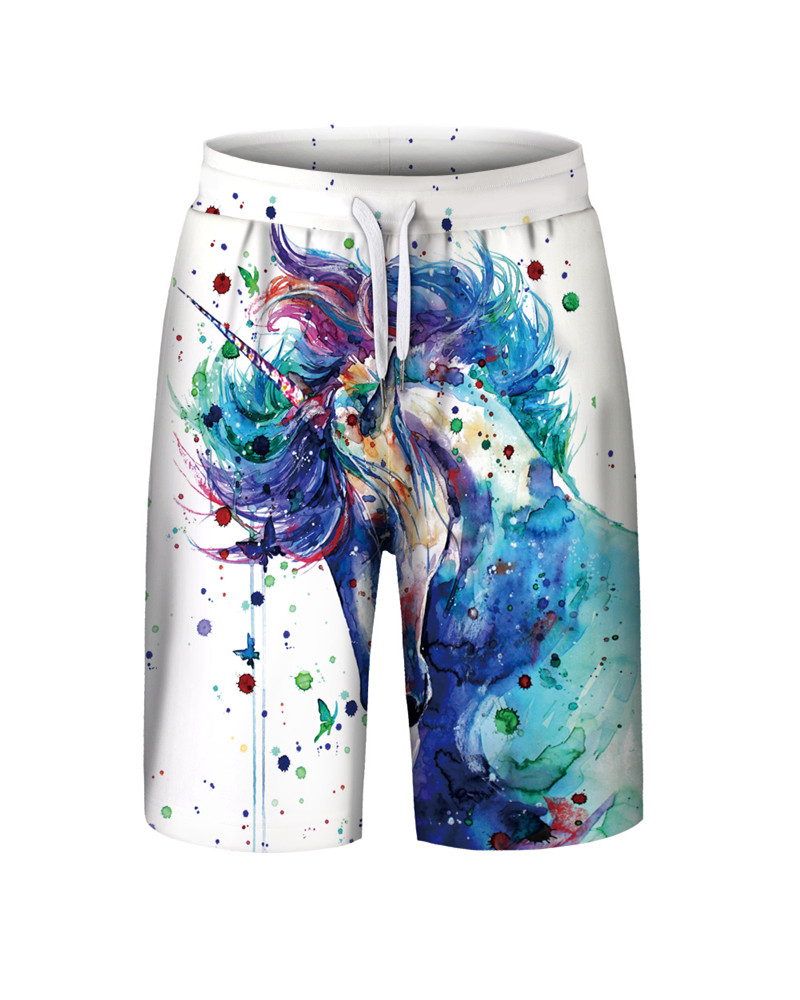 Unicorn Pattern Polyester Material Elastics Closure Type Beach Shorts