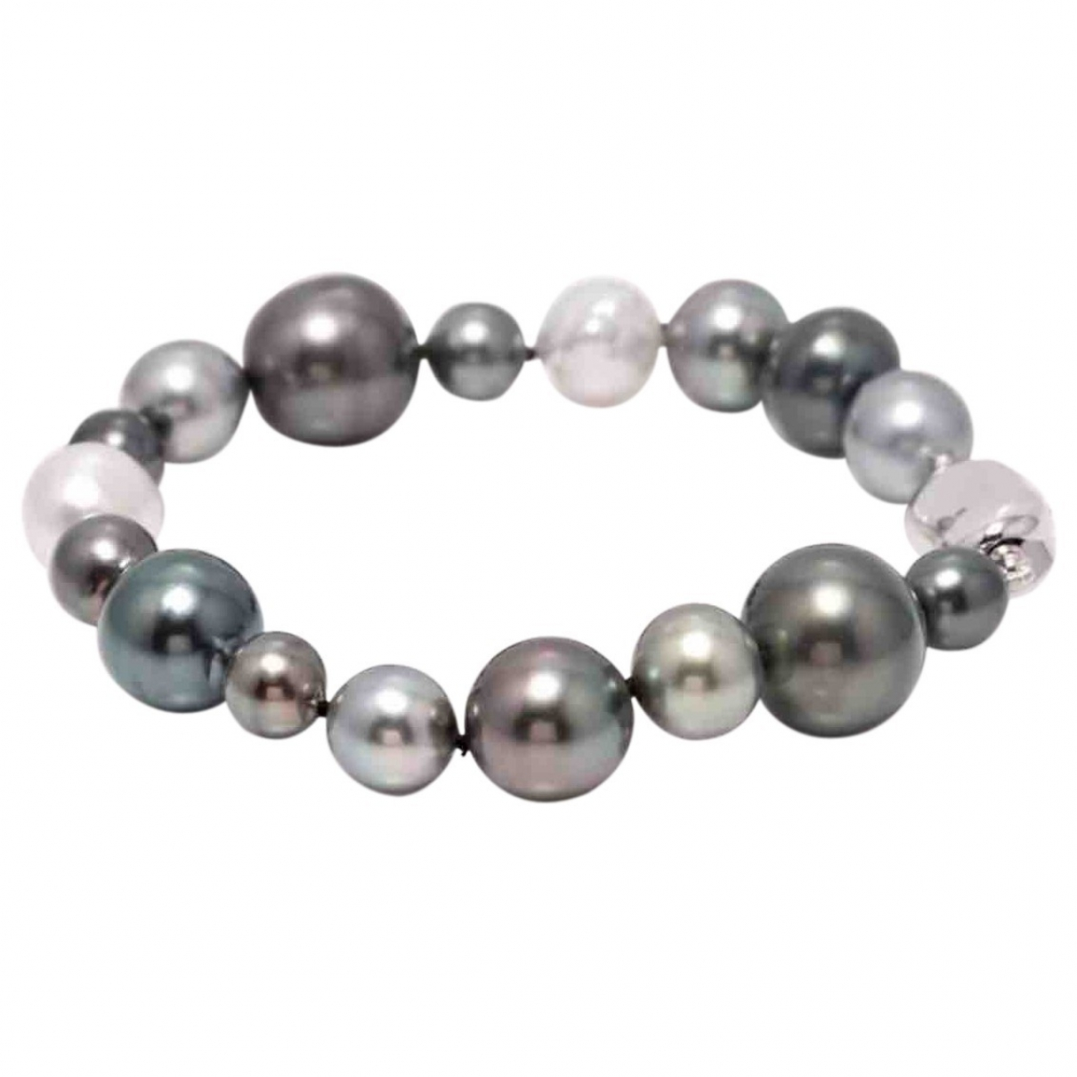 Non Signé / Unsigned \N Anthracite Pearls bracelet for Women \N