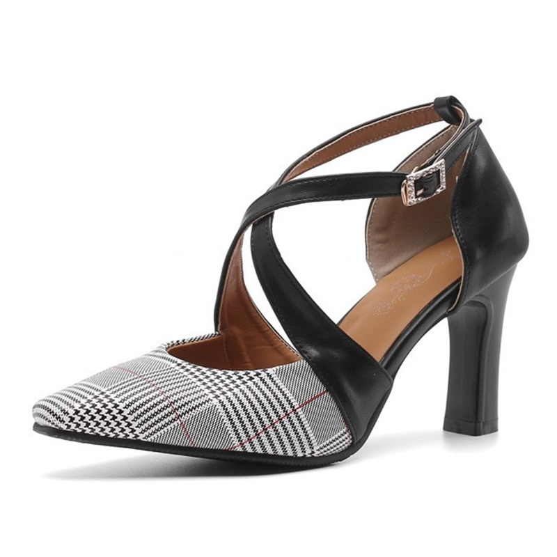 Ericdress Buckle Pointed Toe Buckle Plaid Thin Shoes