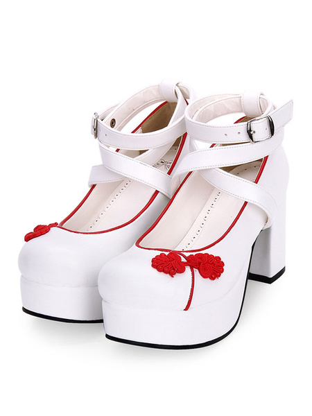 Milanoo Chinese Style Lolita Shoes Embroidery Strappy Chunky High Heel Lolita Pumps
