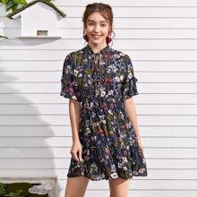 Floral Print Tie Neck Dress