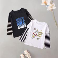 2 Stuecke T-Shirt mit Streifen und Buchstaben Grafik