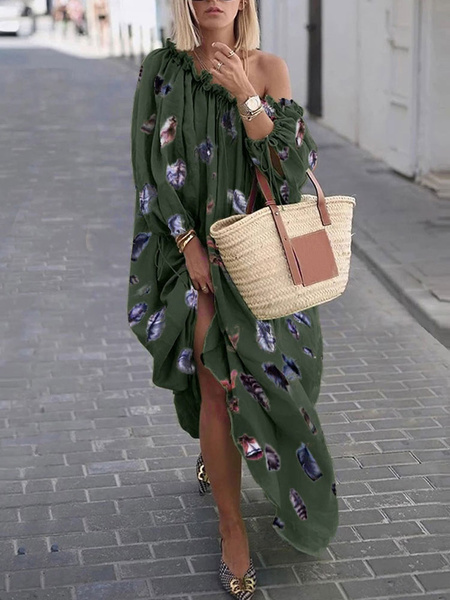 Milanoo Maxi Dresses Long Sleeves Puffed Sleeves Green Printed Jewel Neck Polyester Long Dress