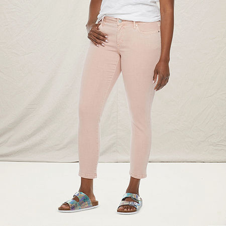 a.n.a-Tall Womens Mid Rise Skinny Ankle Jean, 12 Tall , Pink
