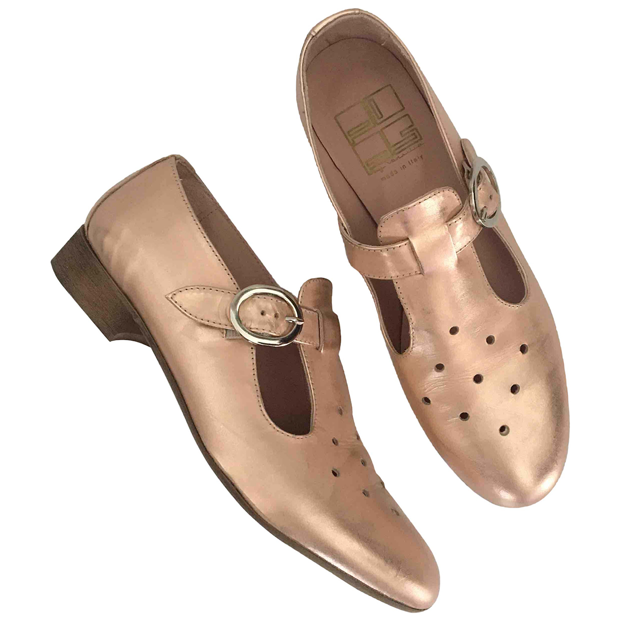 Non Signé / Unsigned N Pink Leather Flats for Women 38 IT