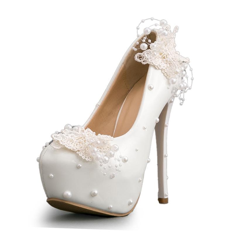 Ericdress Plain Slip-On Lace Platform Stiletto Heel Wedding Shoes