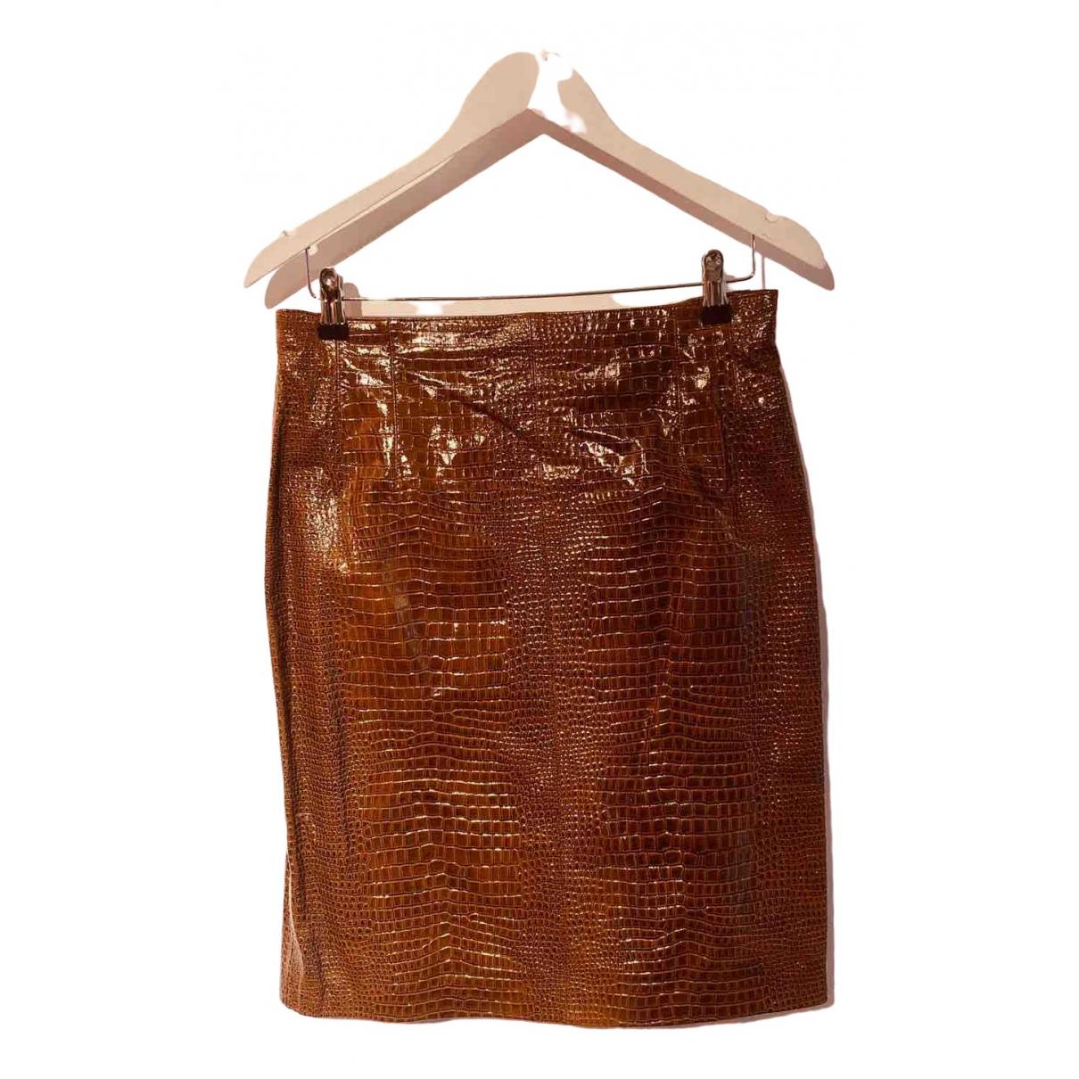 Escada - Jupe   pour femme en cuir - marron