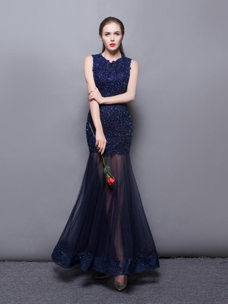 EricdressTrumpet Scoop Neck Applique Beaded Floor Length Evening Dress