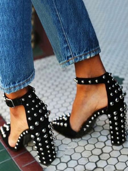 Milanoo Tacones altos para mujer Correa para el tobillo Punta estrecha Remaches de tacon grueso Chic Tallas grandes Zapatos negros para fiesta