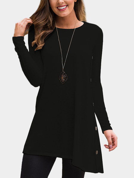 Yoins Black Long Sleeves Irregular Hem Side Buttom Tee