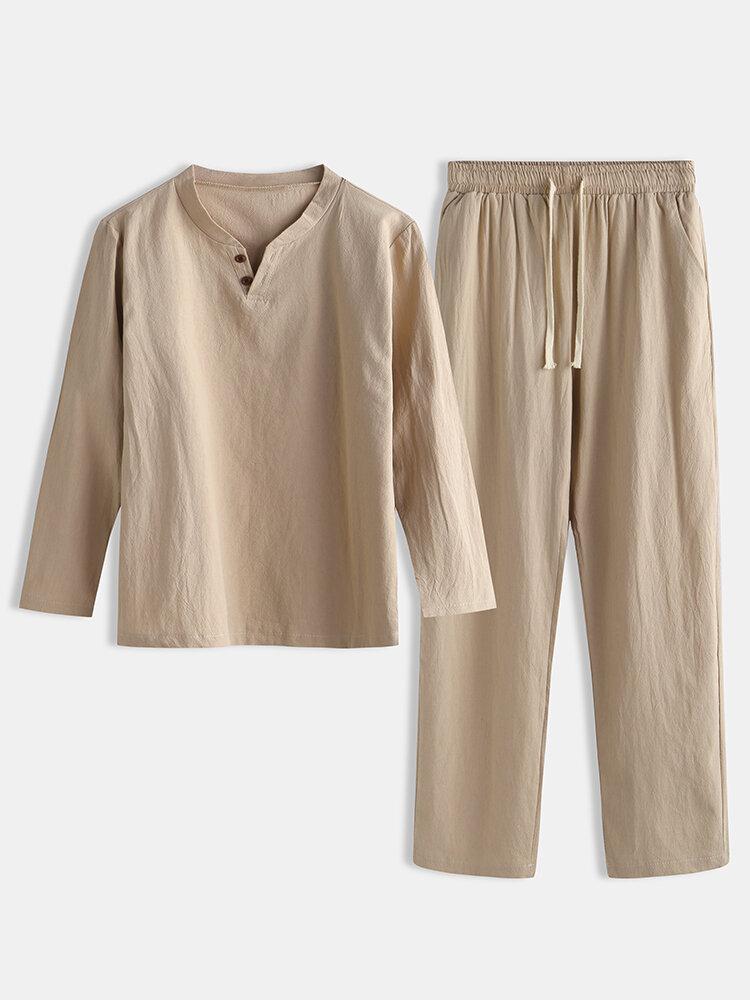 Men Linen Plain Pajamas Set Breathable Comfortable Home Loungewear With Pockets