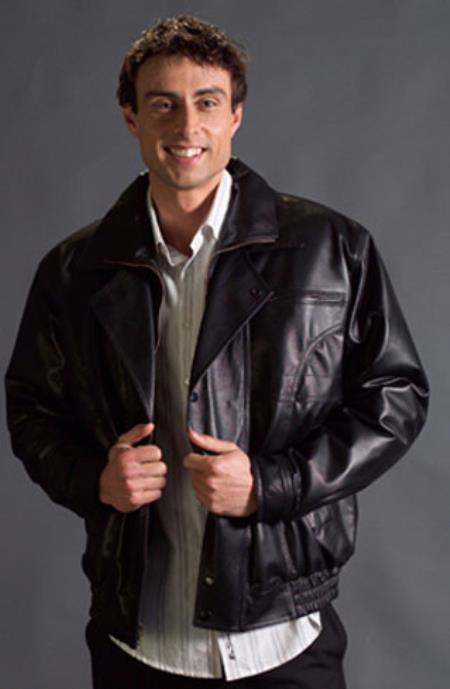 Mens Zip-Out Liner Nappa Leather Double Collar Jacket Black