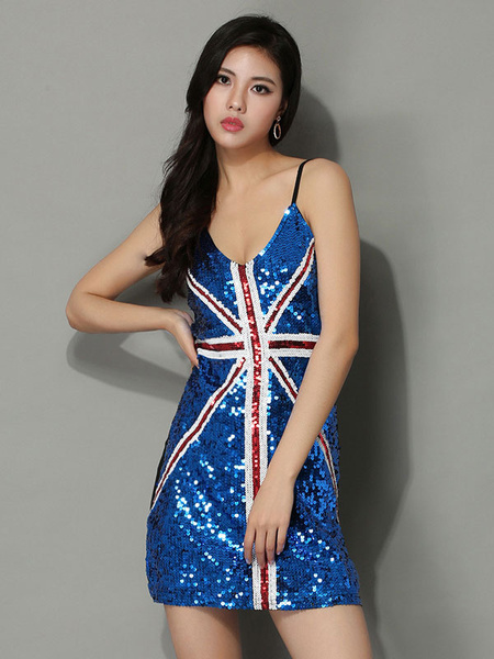 Milanoo Women's Vintage Stripe Sequined Slip Dress Patriotic Short Mini Dress