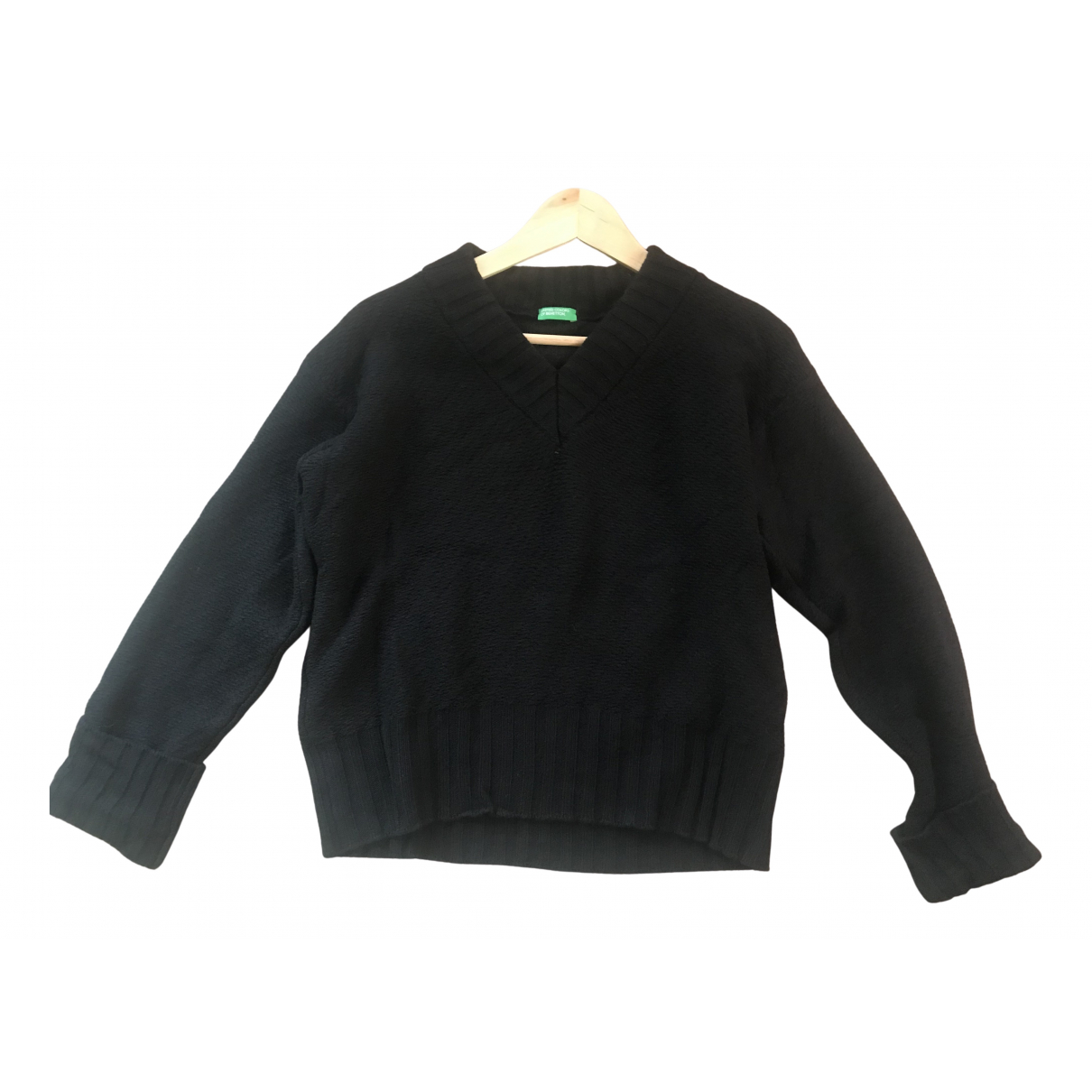 Benetton - Pull   pour femme en laine - noir