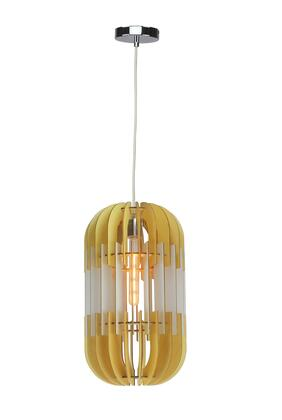 JU04P11WH 1-Light Single Pendant Light with Wood Materials and 60 Watts in White