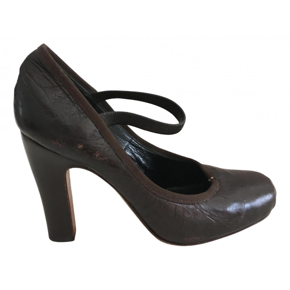 Dior N Brown Leather Heels for Women 35.5 EU