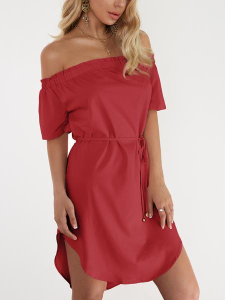 Yoins Red Off The Shoulder Curved Hem Mini Dress with Waist belt