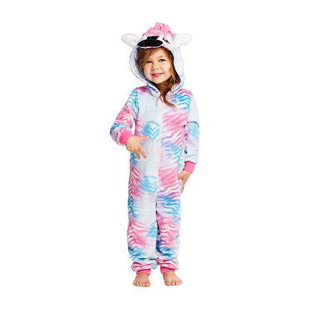 Jelli Fish Kids Toddler Girls Fleece Long Sleeve One Piece Pajama, 4t , Pink