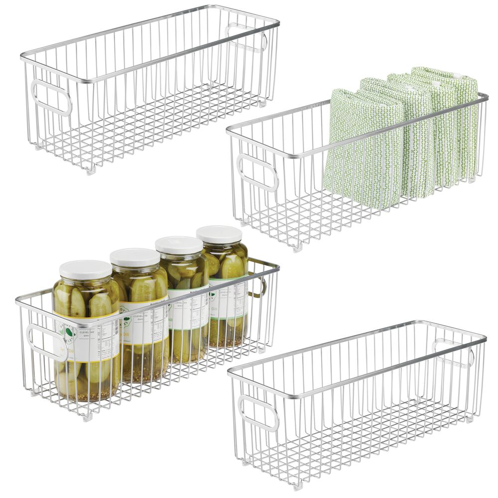 mDesign Metal Wire Kitchen Pantry Food Storage Basket in Chrome, 16.1 x 6.1 x 5.6, Set of 4