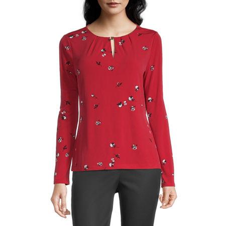 Liz Claiborne Womens Keyhole Neck Long Sleeve Blouse, X-large , Red