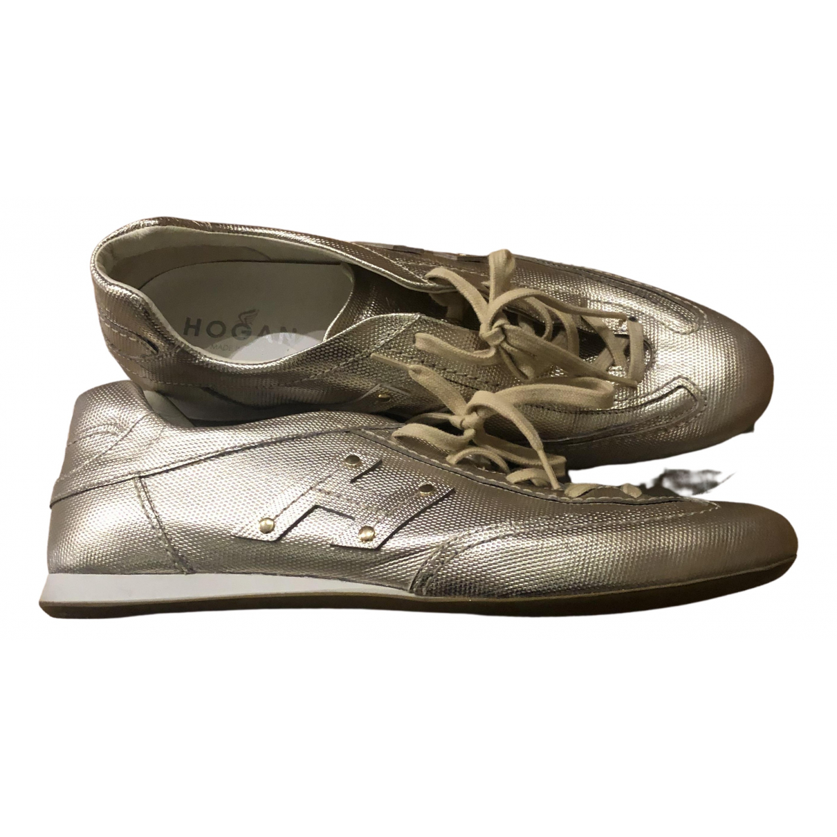 Hogan N Gold Leather Trainers for Women 39.5 IT