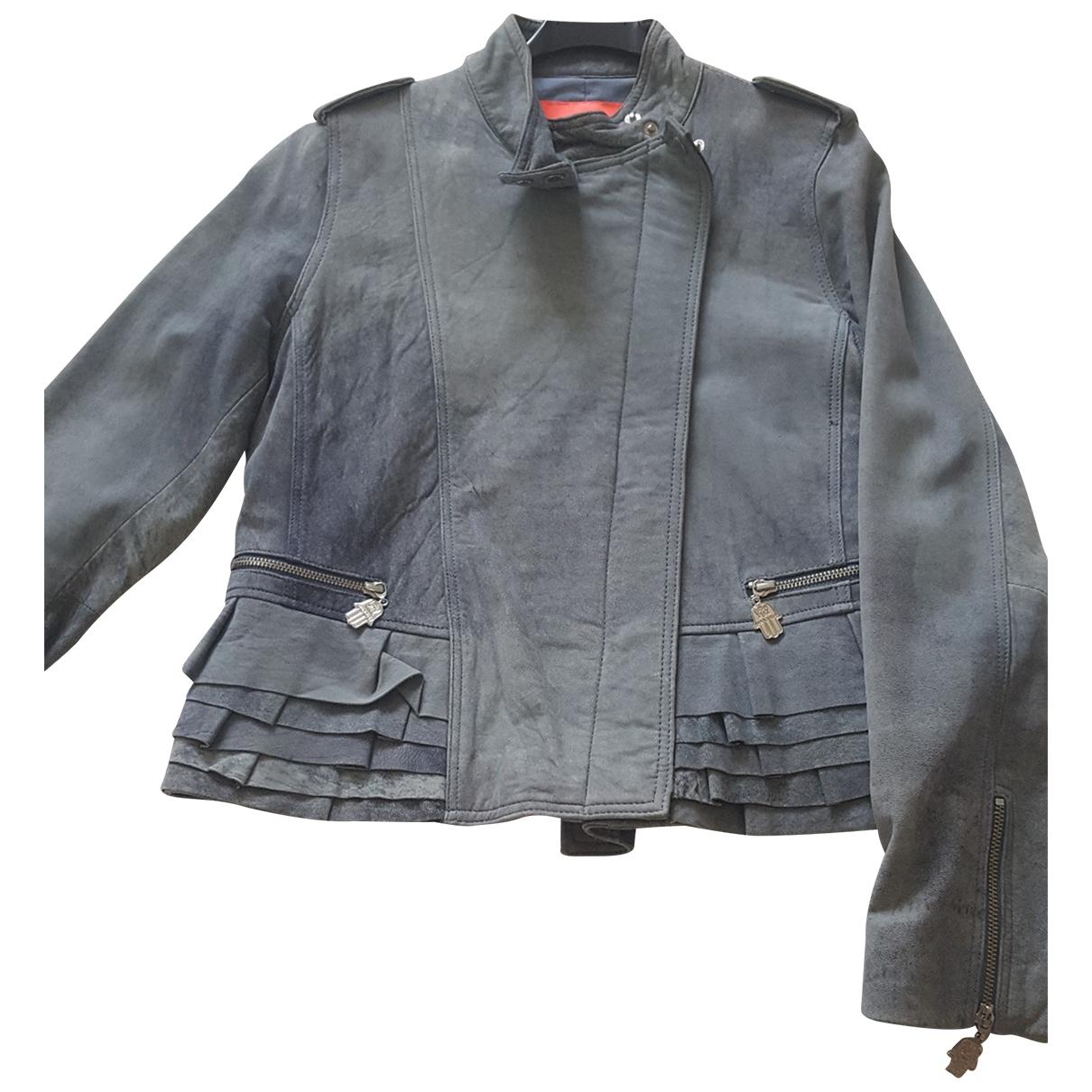 Manoush \N Blue Leather Leather jacket for Women 40 FR