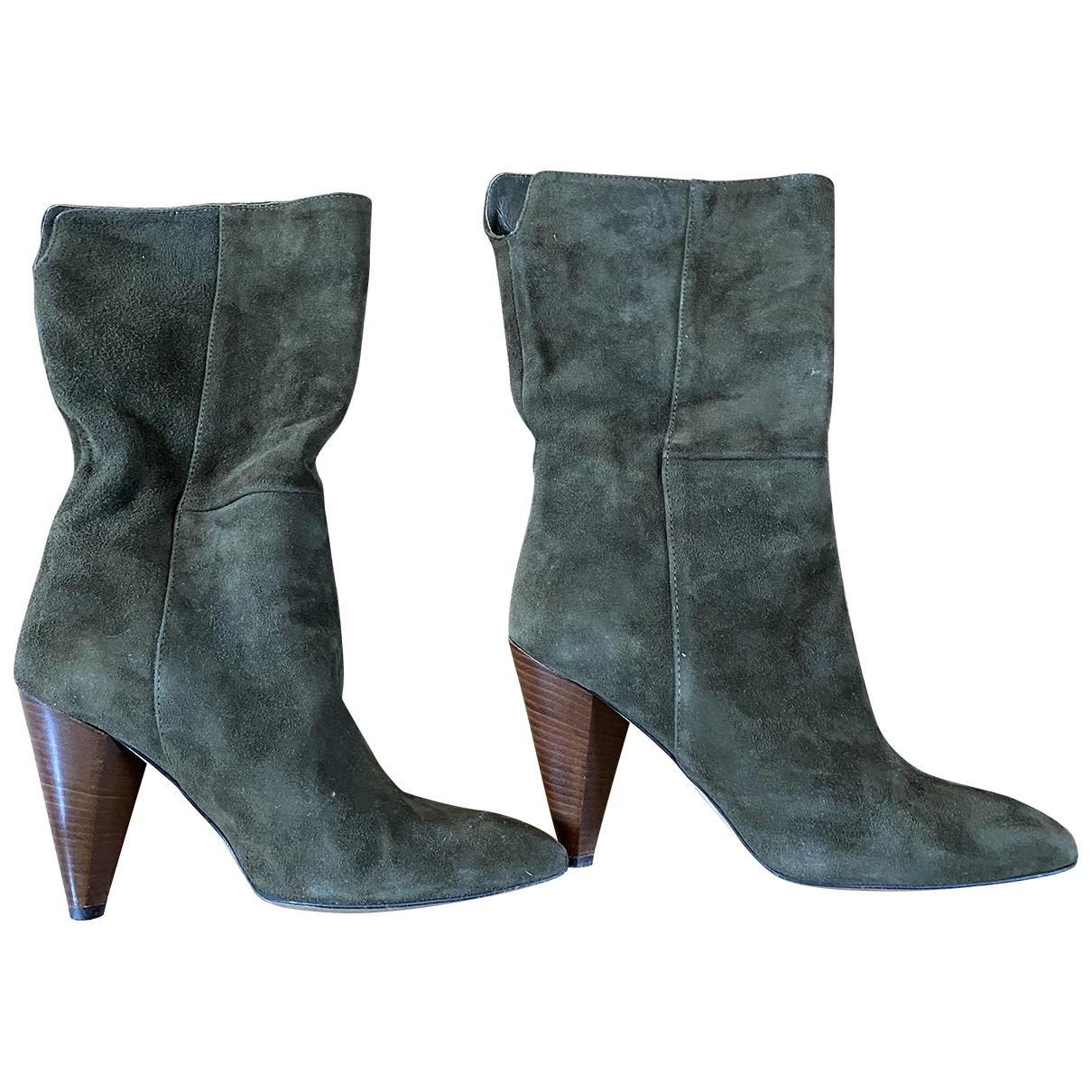 Minelli - Boots   pour femme en suede - kaki