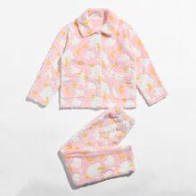 Conjunto de pijama de franela con estampado de dibujos animados