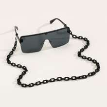 Men Flat Top Sunglasses With Glasses Chain