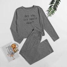 Slogan Graphic Tee & Pants PJ Set