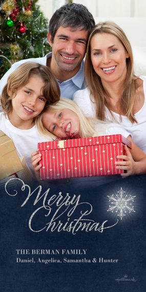 Christmas Photo Cards Flat Matte Photo Paper Cards with Envelopes, 4x8, Card & Stationery -Merry Christmas Snowflake