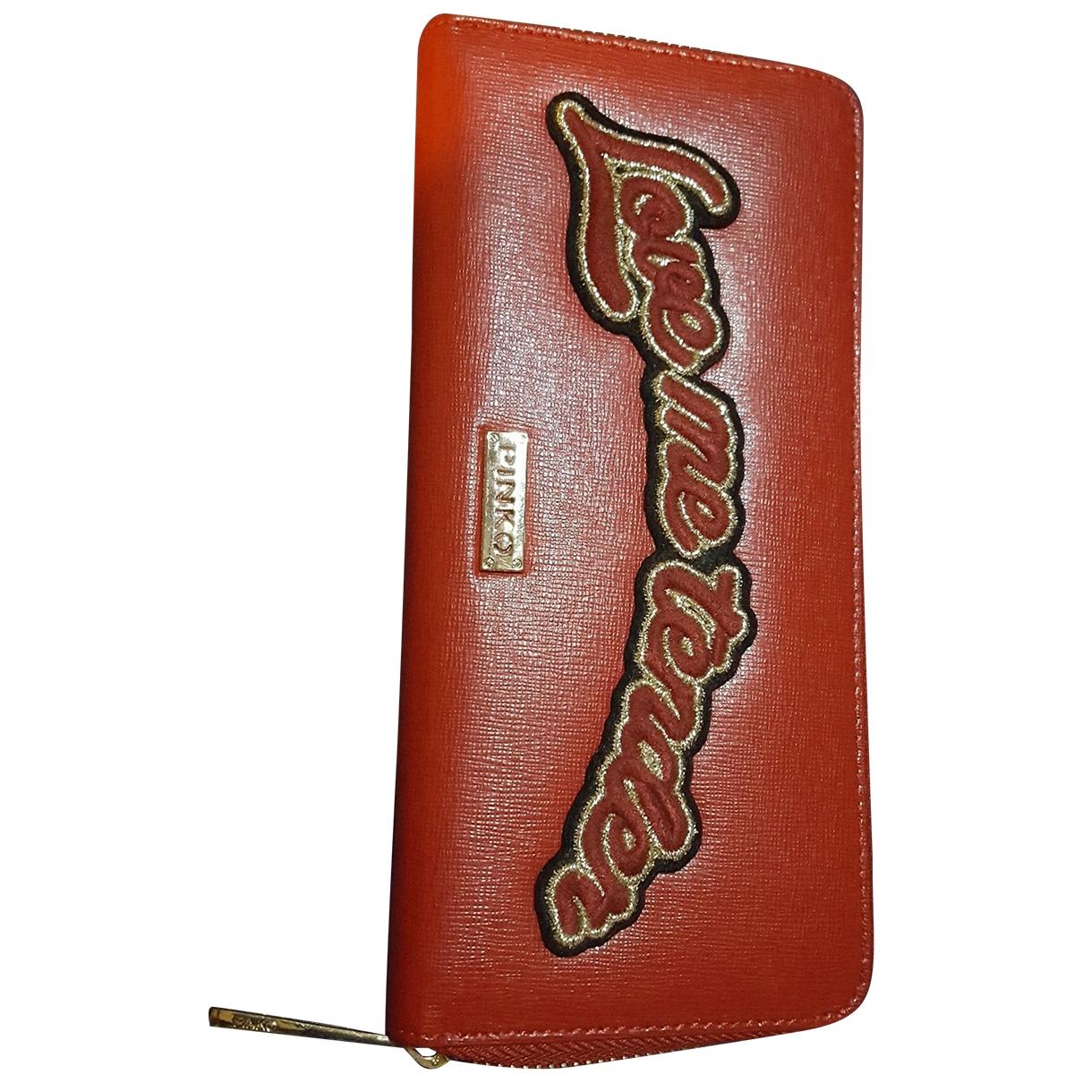 Pinko - Portefeuille   pour femme en cuir - rouge