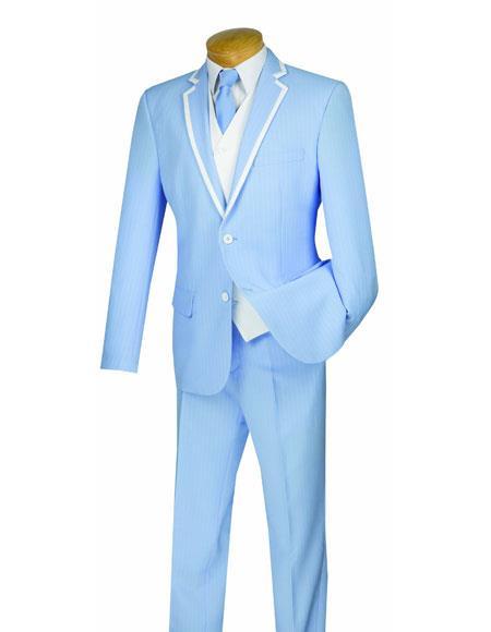 Men's Powder Blue Stripe Tuxedo 2Toned White Tuxedo Free White Vest