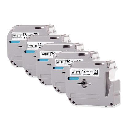 Compatible Brother MK231 M-K231 Label Tape for P-Touch, Black on White, 0.47 in x 26.2 ft (12mm x 8m) - Moustache Brand