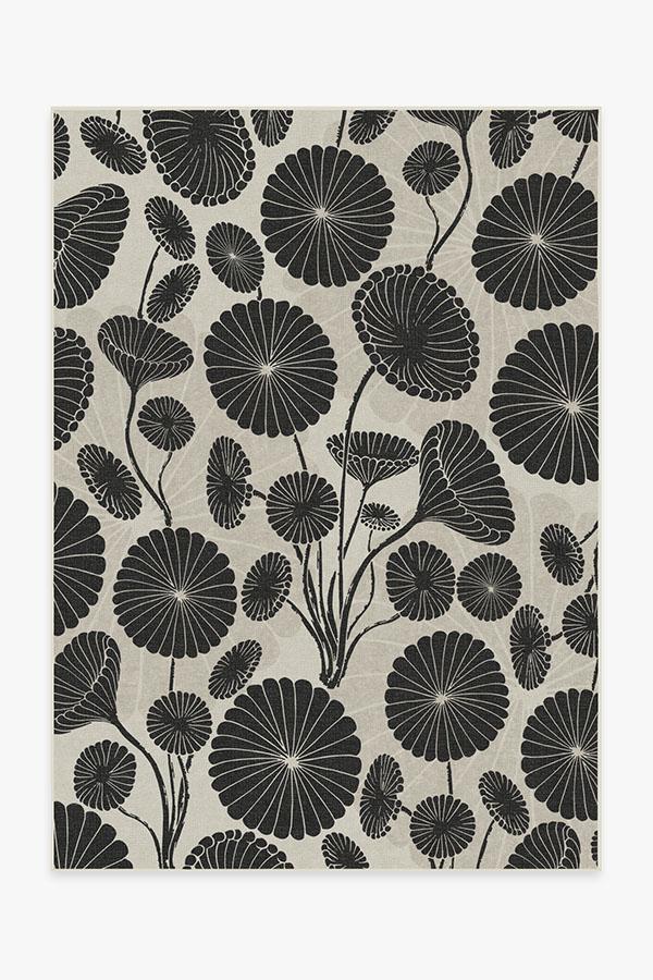 Washable Rug Cover | Cynthia Rowley Pompom Black & White Rug | Stain-Resistant | Ruggable | 5x7