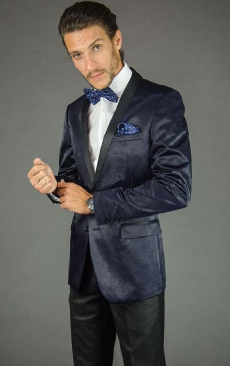 Mens 2 Button Navy Blue Velvet Slim Fit Tuxedo Jacket
