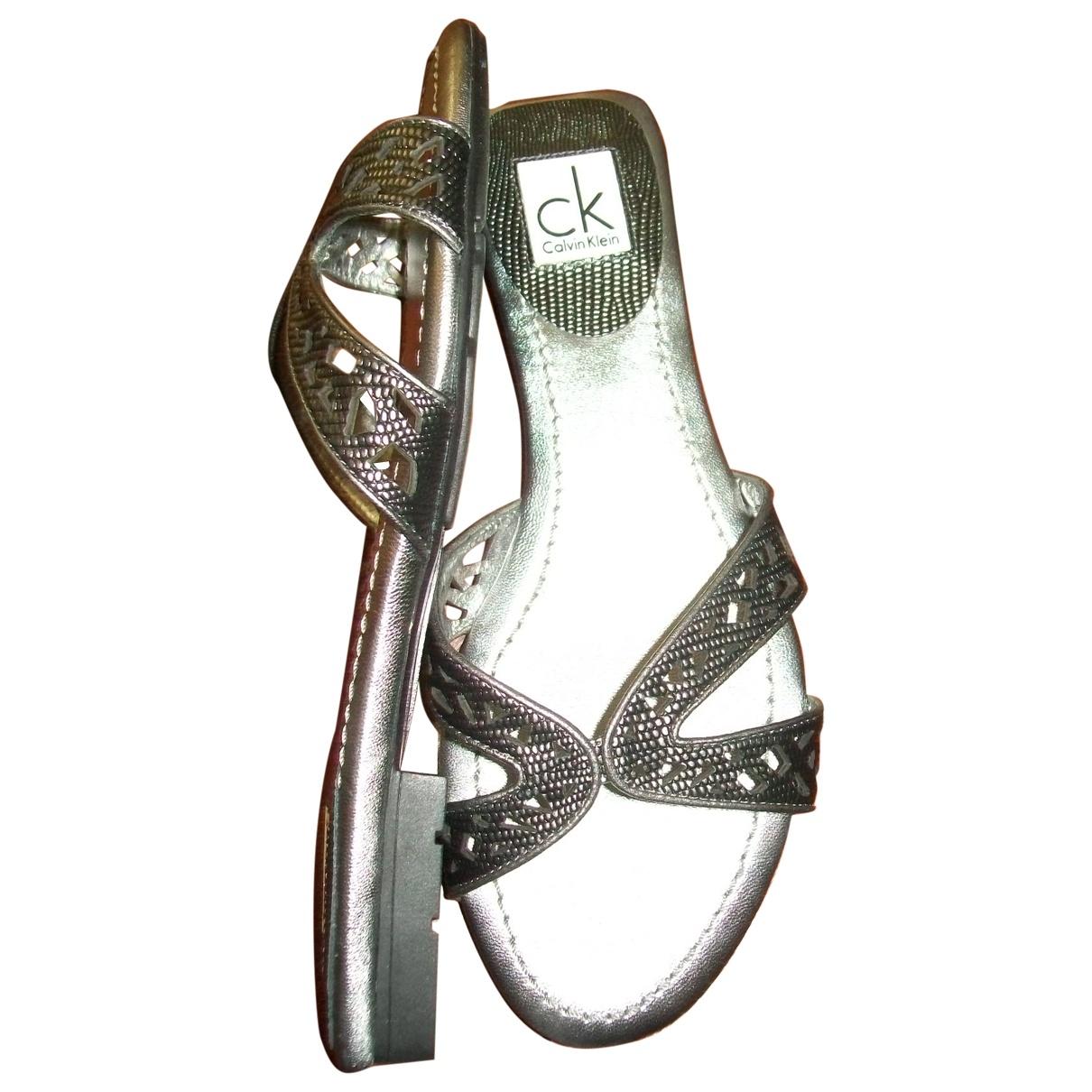 Calvin Klein \N Silver Leather Sandals for Women 37 EU
