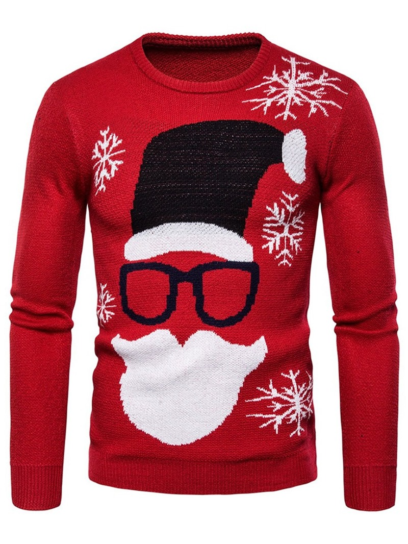 Ericdress Color Block Print Standard Mens Slim Sweater