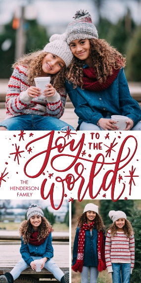 Christmas Photo Cards Flat Glossy Photo Paper Cards with Envelopes, 4x8, Card & Stationery -Christmas Rustic Joy World by Tumbalina