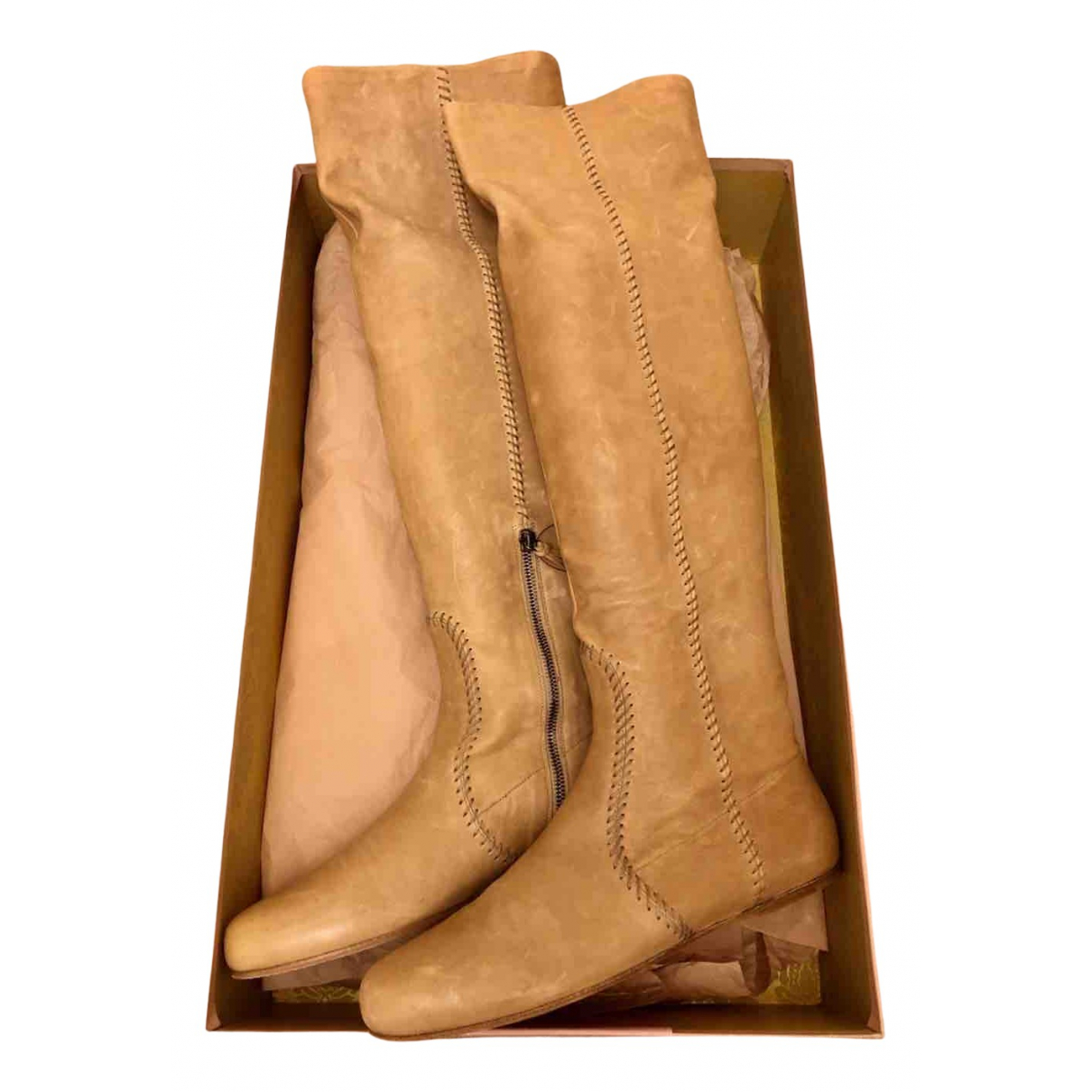 Miu Miu - Bottes   pour femme en cuir - beige