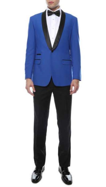 Mens Slim Royal Blue Shawl Lapel Tuxedo Jacket