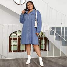 Plus Collared Zip Up Flap Pocket Front Denim Dress