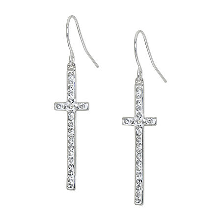 Sparkle Allure Crystal Pure Silver Over Brass Cross Drop Earrings, One Size , No Color Family