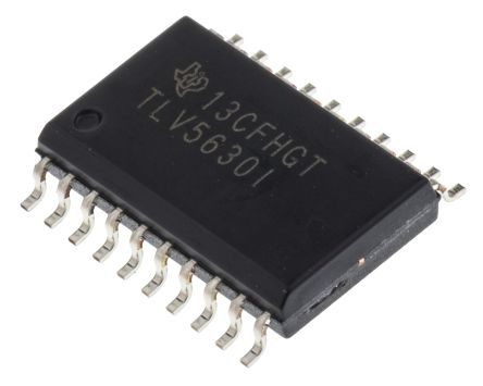 Texas Instruments TLV5630IDW, 8-Channel Serial DAC, 283ksps, 20-Pin SOIC