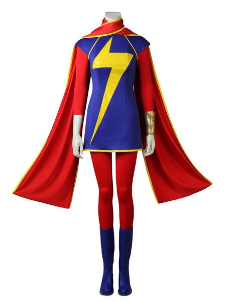 Milanoo Marvel Comics Captain Marvel Cosplay Kamala Khan Red Marvel Comics Lycra Spandex Outfit